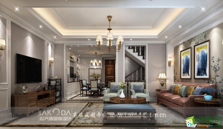 210平米美式风格别墅住宅装修案例图|拉齐娜装饰