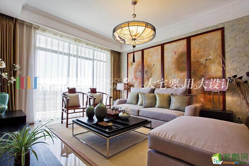 新中式风格80平米两室两厅装修效果图 中策装饰