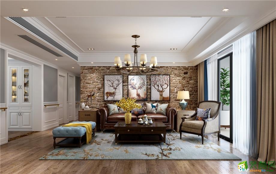 【天古装饰】棕榈泉悦江国际140平米美式风格四室两厅装修案例图