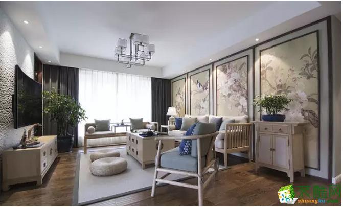 【兰棠汇装饰】128�O现代中式三室装修效果图