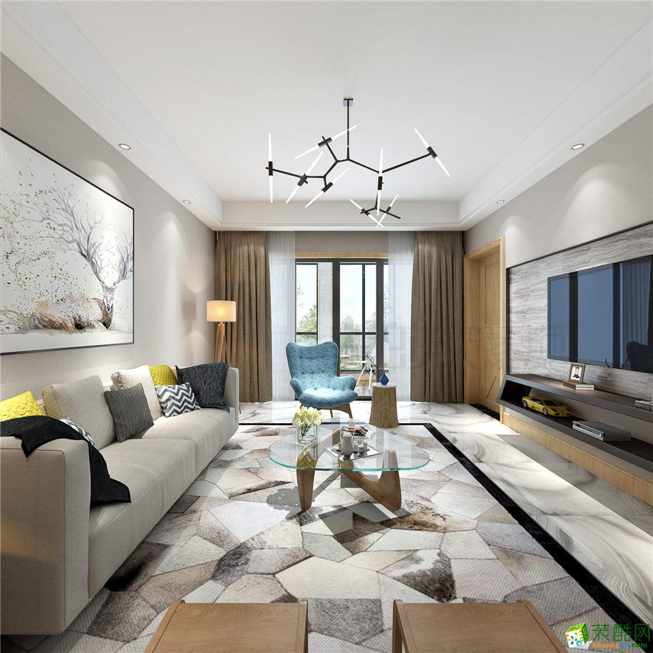 【美的家装饰】万科御澜道130平米北欧风格三室两厅装修案例图