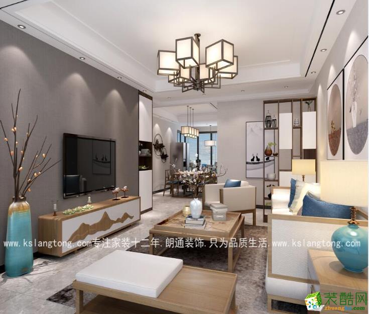 【朗通装饰】金色森林83�O现代中式风格两室装修效果图