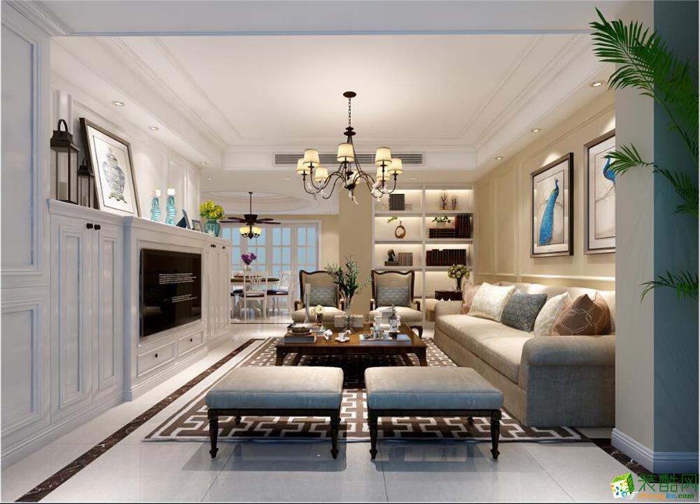 清洲国际—置地越湖152方简美风格跃层住宅装修效果图