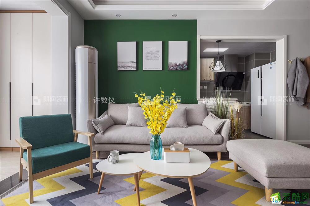龍湖時代天街120平米北歐風格三室兩廳裝修效果圖|朗潤裝飾