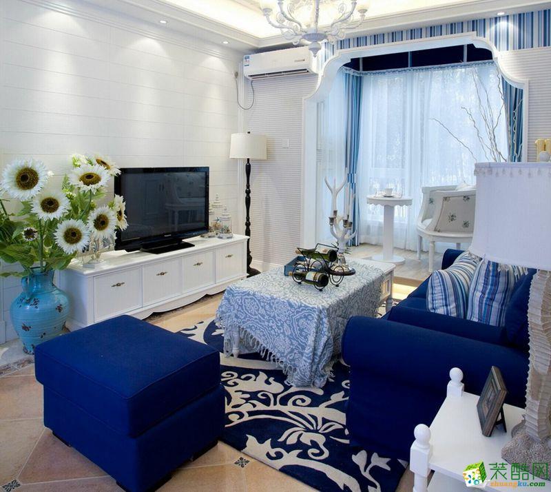 地中海风格三室两厅104平米装修案例效果图 品峰装饰