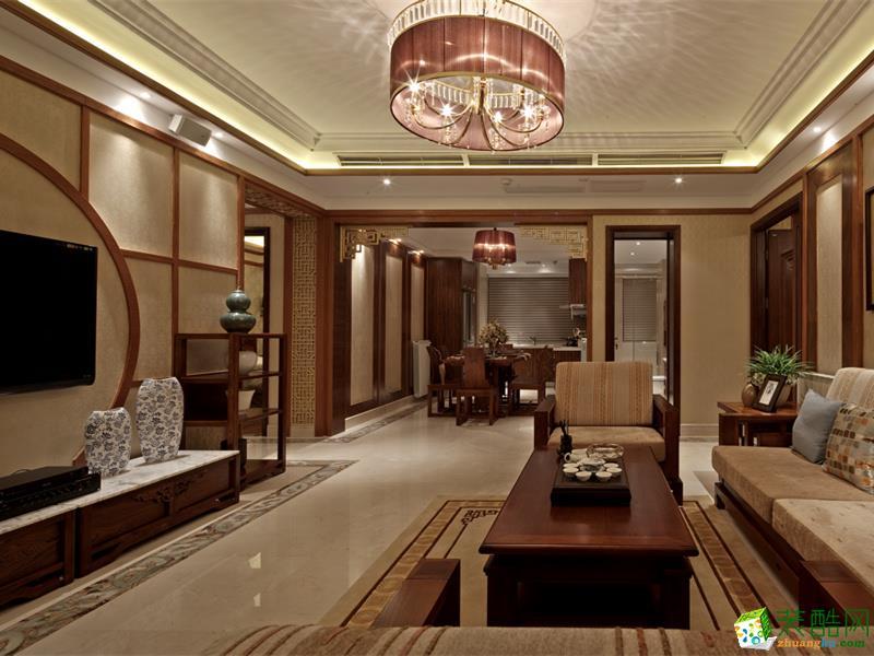 奥园春晓中式风格三室两厅131平米装修案例图|靓家居装饰