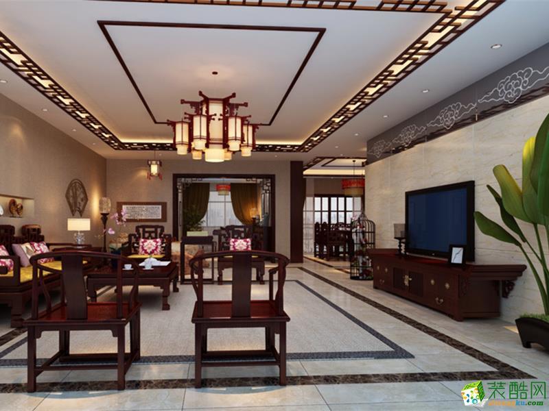 雅居乐花园211平米中式风格五居室装修案例图|靓家居装饰