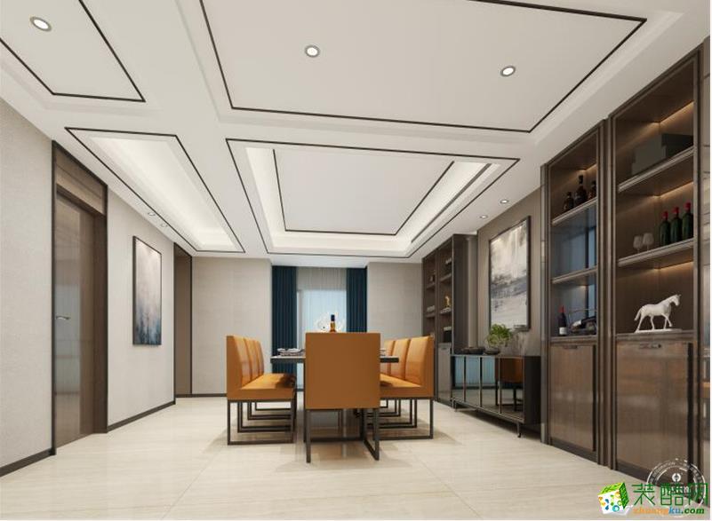 【浩天装饰】中旅国际400�O新中式风格复式楼装修效果图欣赏