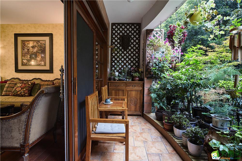 美平方装饰―126m2中式风格三居室装修效果图
