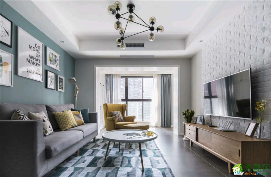 北欧风格110平米三室两厅装修案例实景效果图|阔达装饰