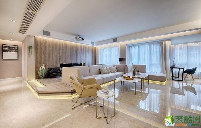 现代简约风格135平米三室两厅装修案例图|川豪装饰