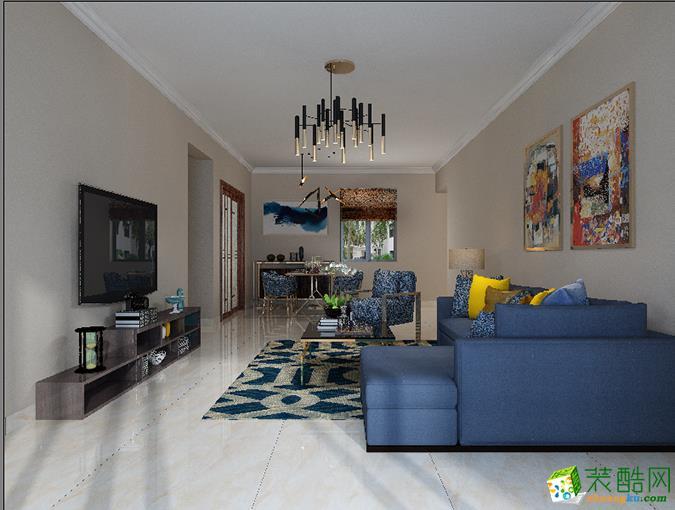 鲁能・钓鱼台・美高梅80平米现代简约风格两室两厅装修案例图 盛星装饰