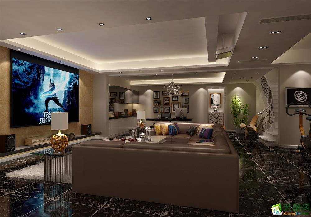 现代简约风格260平米别墅住宅装修案例图|龙发装饰