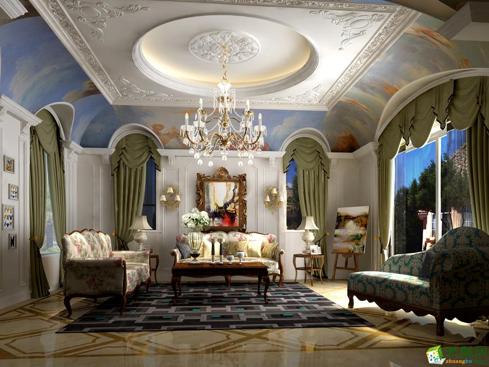 简欧风格450平米别墅住宅装修案例图|瑞铂装饰_欧式