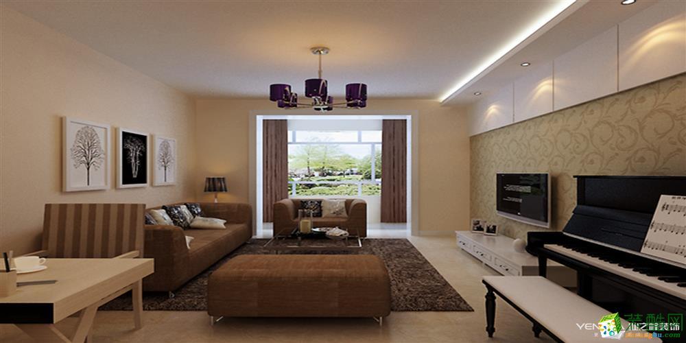 【天津业之峰】100�O两室两厅简约风格装修效果图
