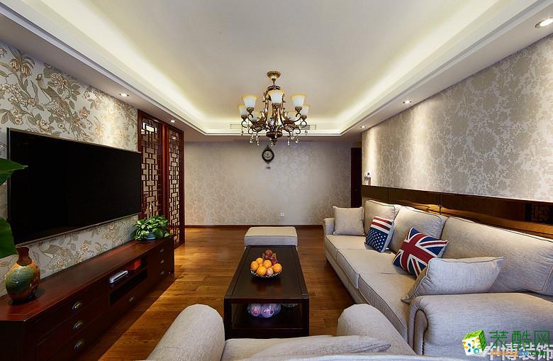 武汉中博装饰―95方现代中式风格三居室装修设计效果图
