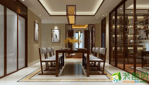 武汉名匠装饰―180方简约中式风格联排别墅装修效果图