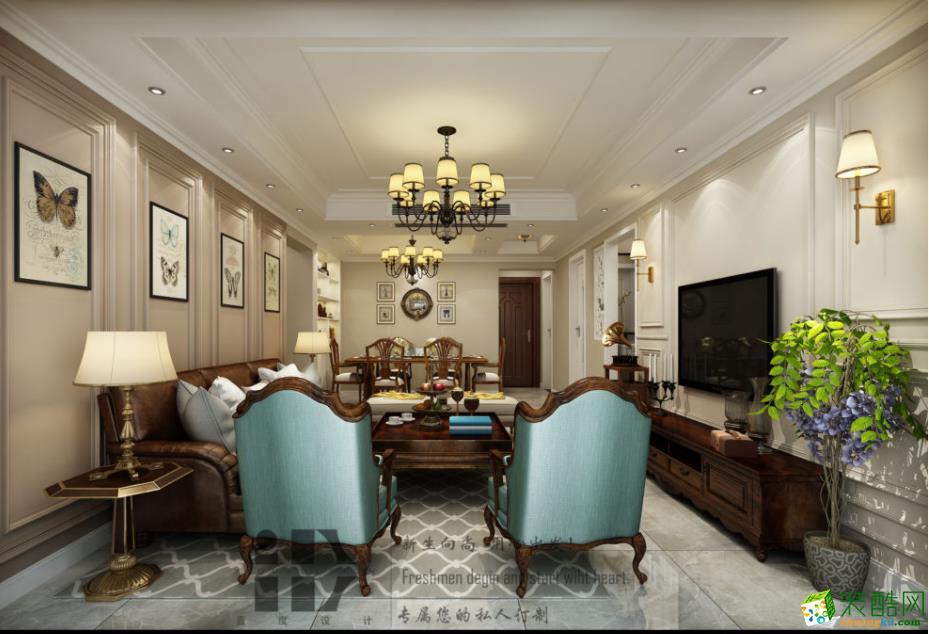 【一度装饰】中南世纪城138�O美式风格三室装修效果图