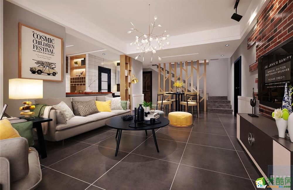 恒大中央公园147平米混搭风格四室两厅装修案例图|海大装饰