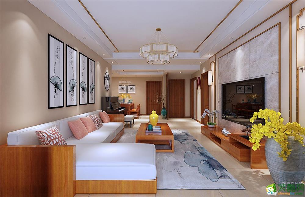 新中式风格126平米三室两厅装修案例图|海大装饰