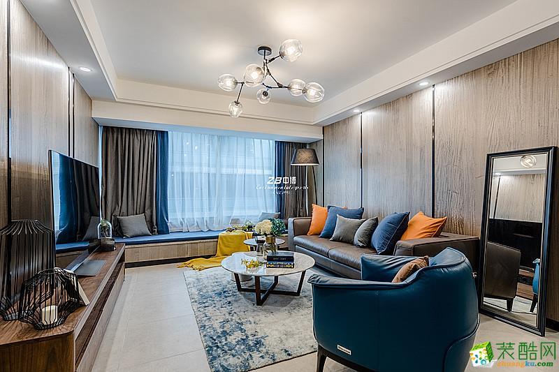 中博装饰-蓝孔雀107方简美风格三居室装修效果图