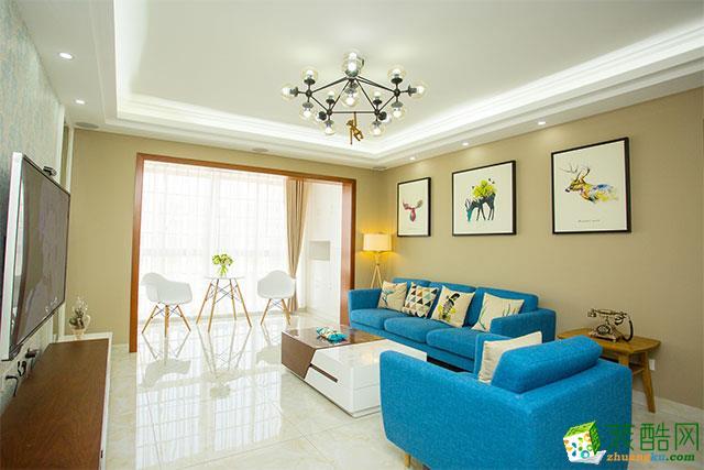 145平米现代简约风格三室两厅装修案例图|吉家装饰