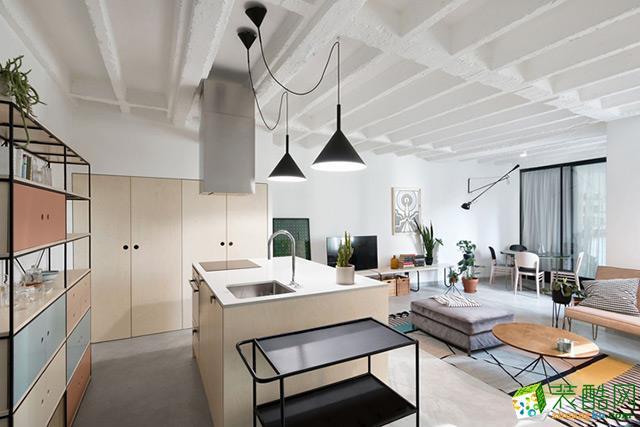 现代简约风格98平米两室两厅装修案例图|紫名都装饰