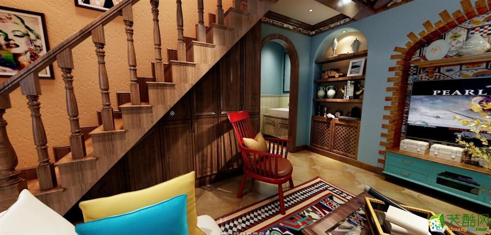 唐卡装饰---康田蔚蓝海100平米美式风格三室两厅装修案例图赏析。
