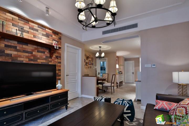 美式乡村风格100平米三室两厅装修案例图|海大装饰
