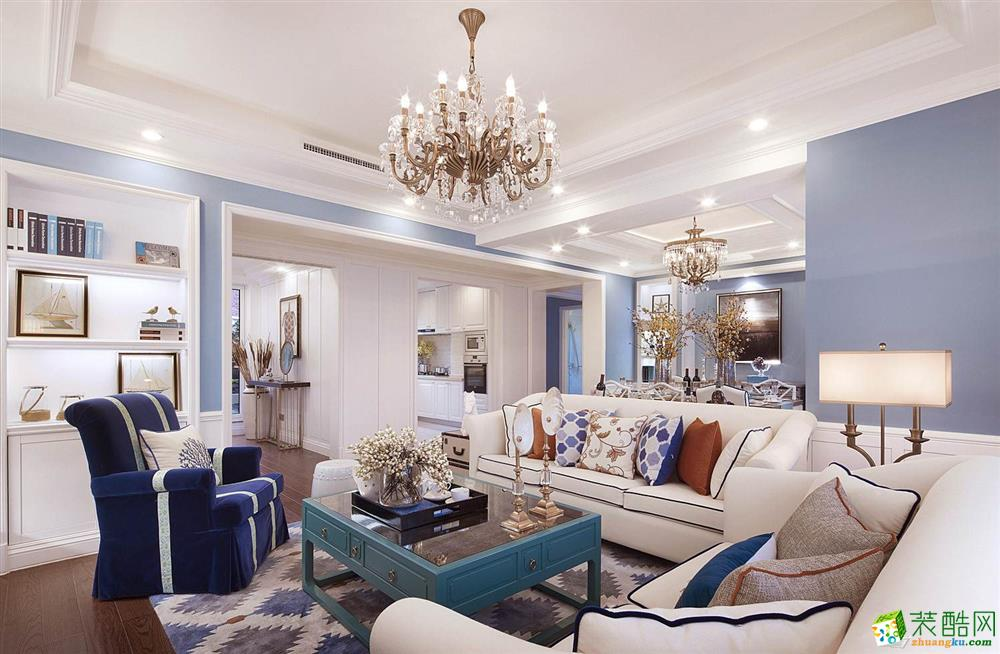 超世装饰--115平米欧式风格三室两厅装修案例实景图