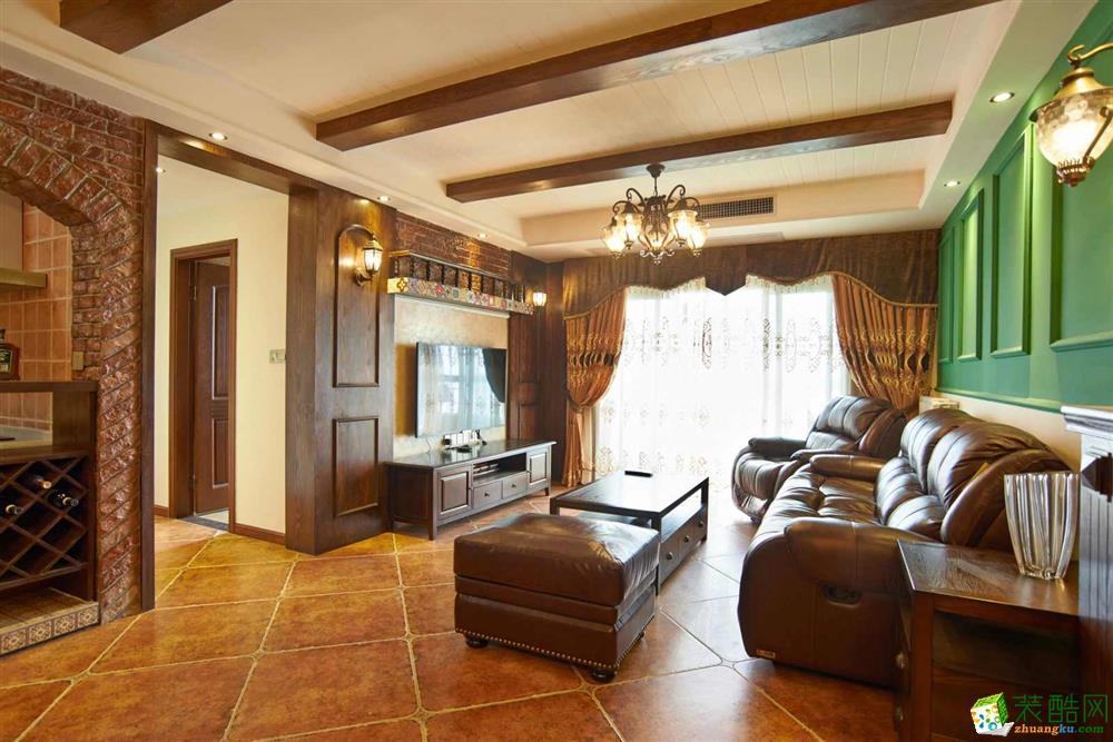 超世装饰--美式乡村风格115平米三室两厅装修实景案例图