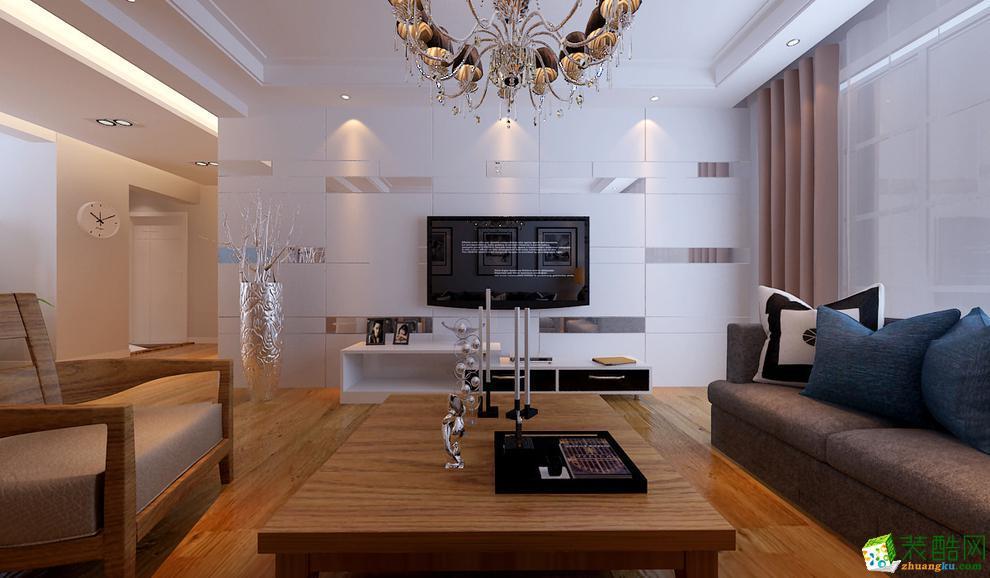 现代简约风格106平米三室两厅装修案例图---十二分装饰