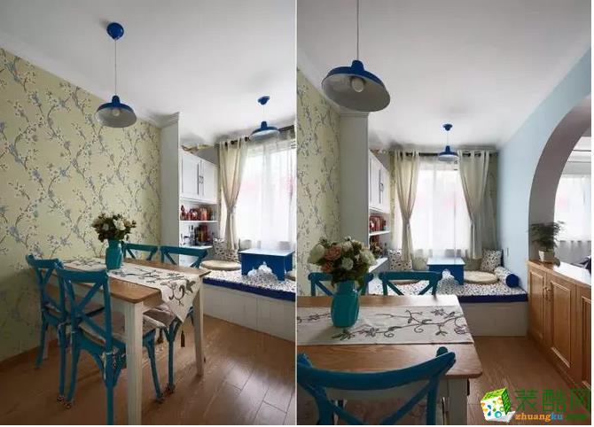 餐厅墙面贴着优雅的壁纸,搭配上蓝色的餐椅,整个给人的感觉就是清新大方;