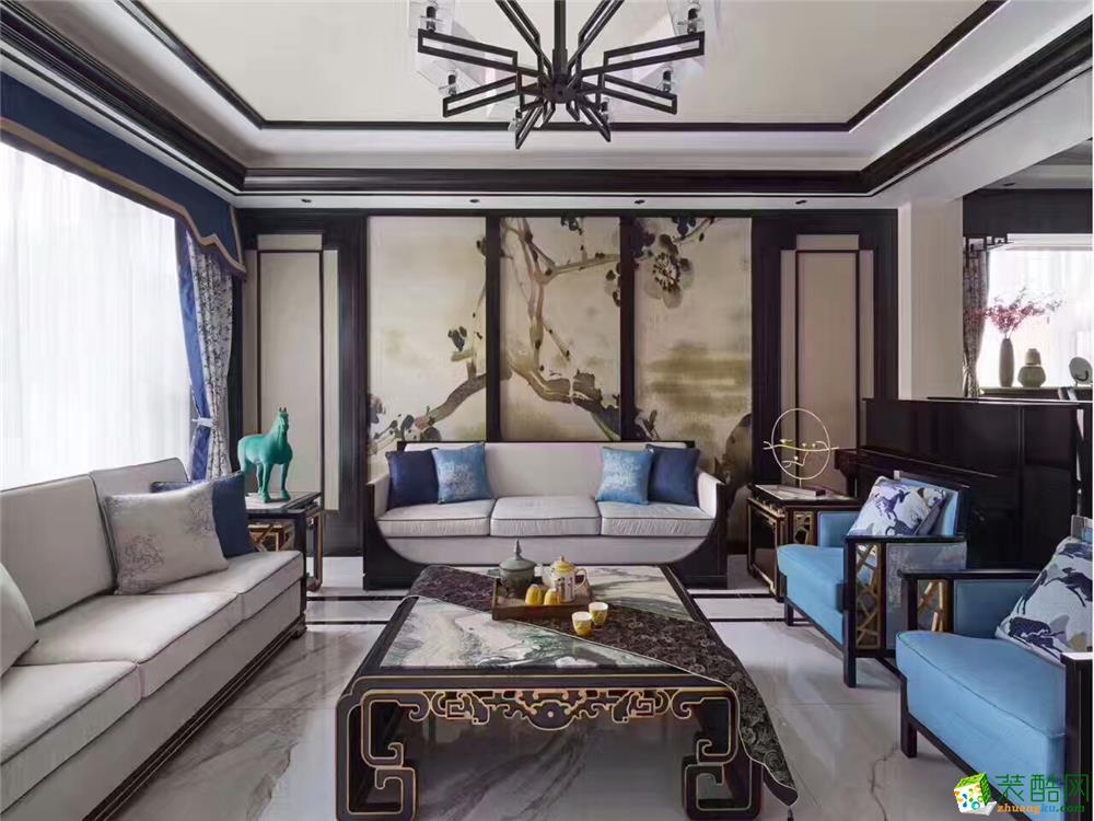 【南通轻舟装饰】152方三室两厅新中式风格装修设计效果图