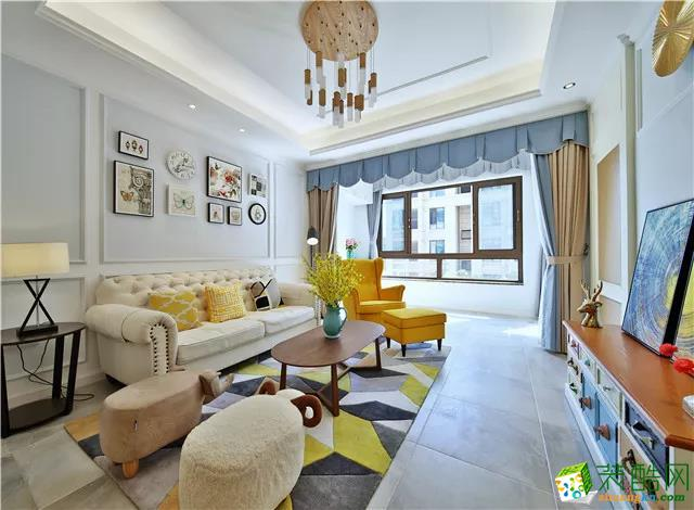 【龙邸装饰】125�O暖系地中海风格三室装修效果图