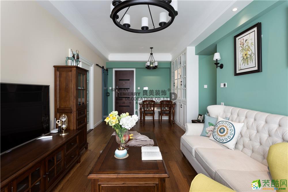 87平米简美风格三室两厅装修实景案例图|良美装饰