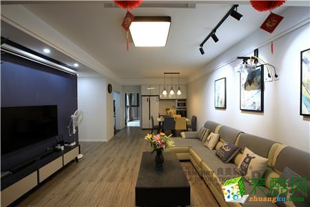 现代简约风格三室两厅110平米装修实景案例图|良美装饰