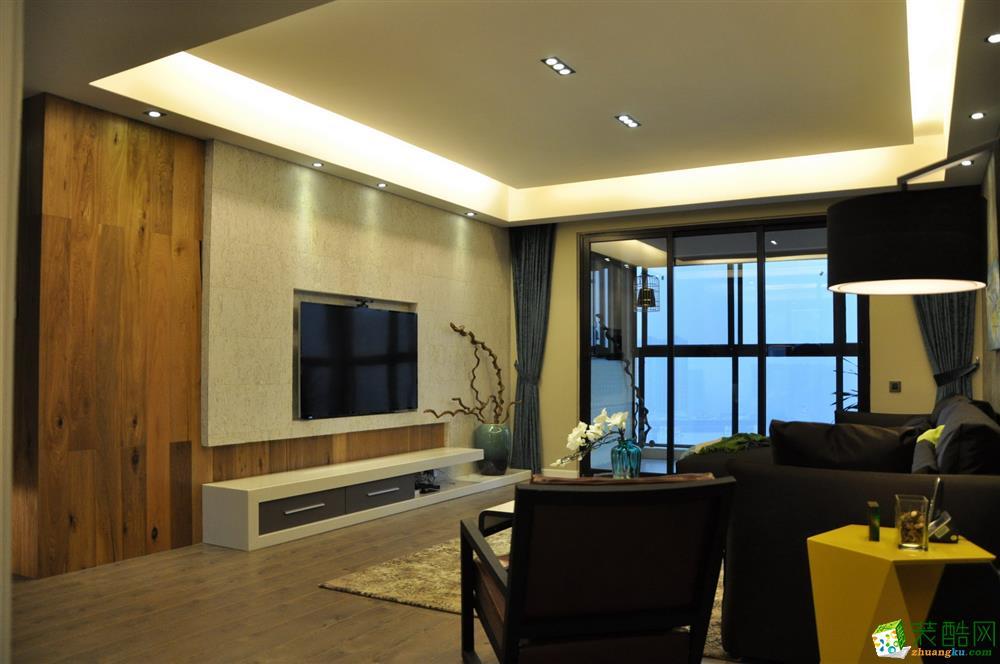 雍湖灣98平米現代簡約風格三室兩廳裝修案例圖|瑯蜂裝飾