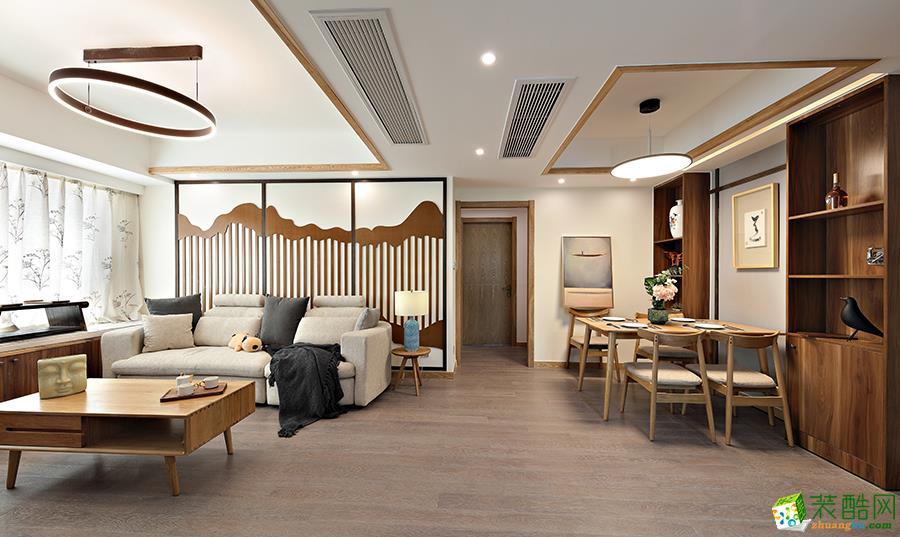 【恒彩装饰】尚景国际89�O新中式风格三居室装修效果图