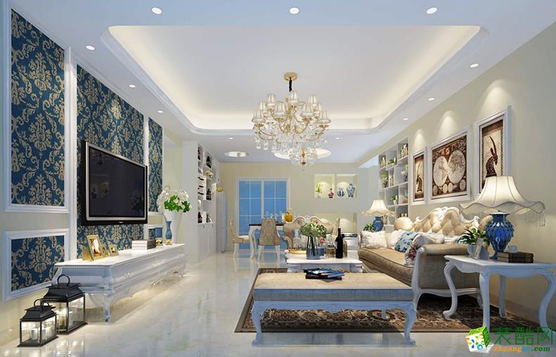 江东水岸112平米欧式风格三室一厅装修案例图