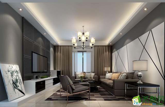 现代简约风格128平米三室两厅装修案例图|华浔品味装饰