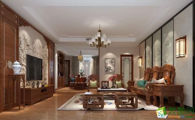 中联天玺206平米中式风格别墅住宅装修案例图|华浔品味装饰