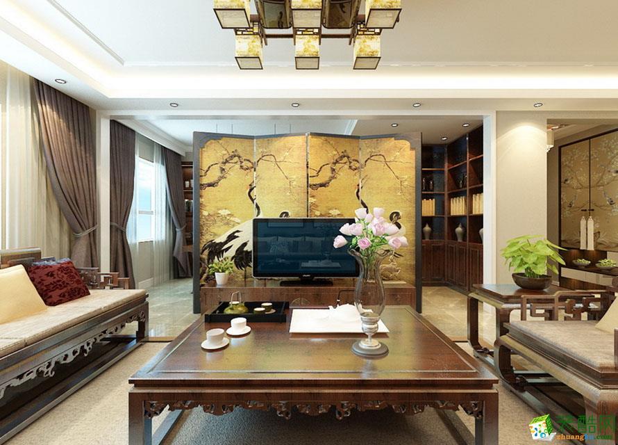 现代中式风格124�O三室两厅装修案例图|六度装饰