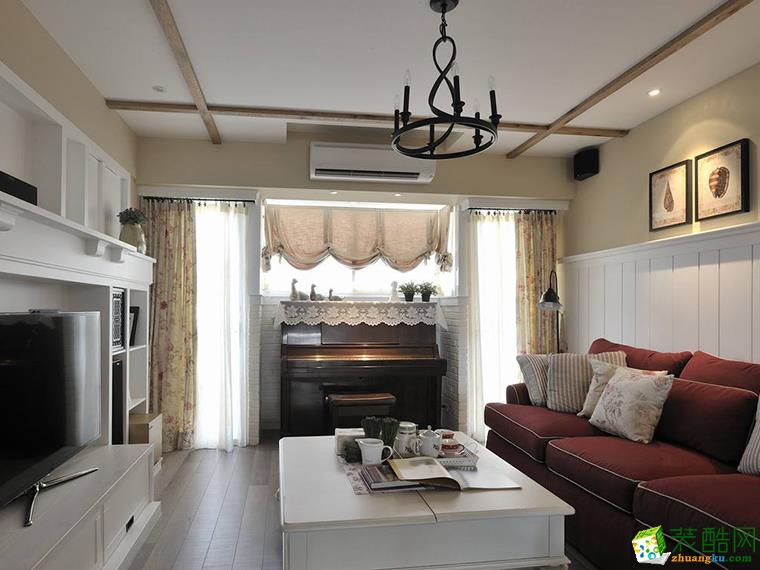 108平米田园风格三室两厅装修案例图-塔克装饰