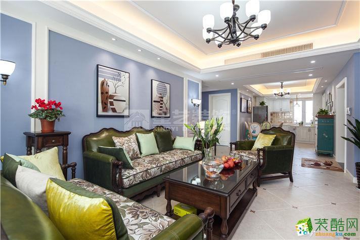 【南通星艺装饰】城市嘉苑122方美式风格三室两厅装修效果图