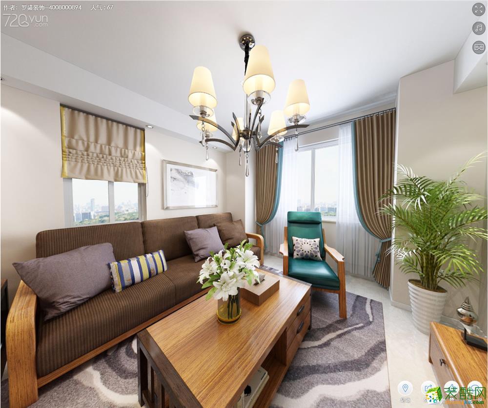 罗盛家装―滨江福苑89方三室一厅简约风格装修设计效果图