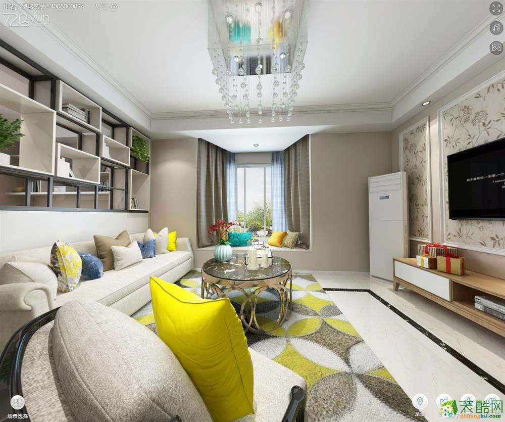 罗盛装饰―花园新村90方现代风格三居室装修设计效果图