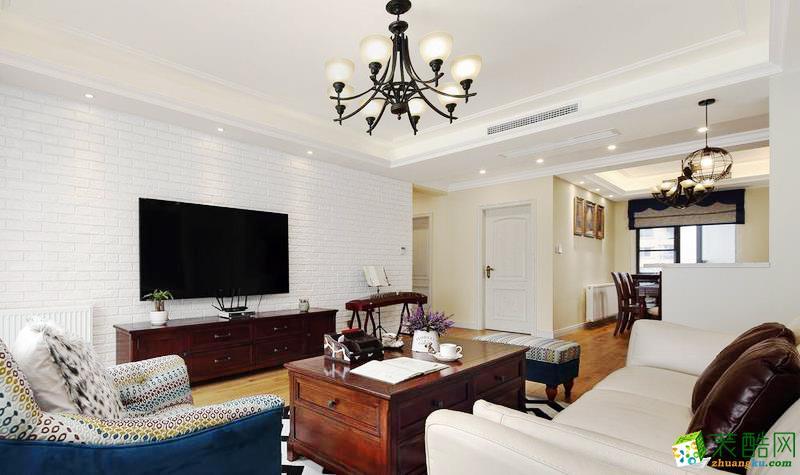 鼎盛装饰―100�O美式风格三居室装修设计效果图