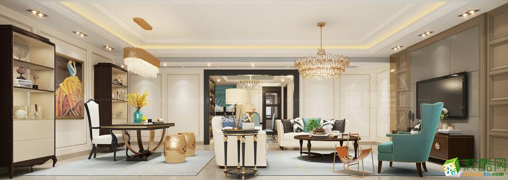 美式混搭风格230平米四室两厅装修案例图|乾维装饰