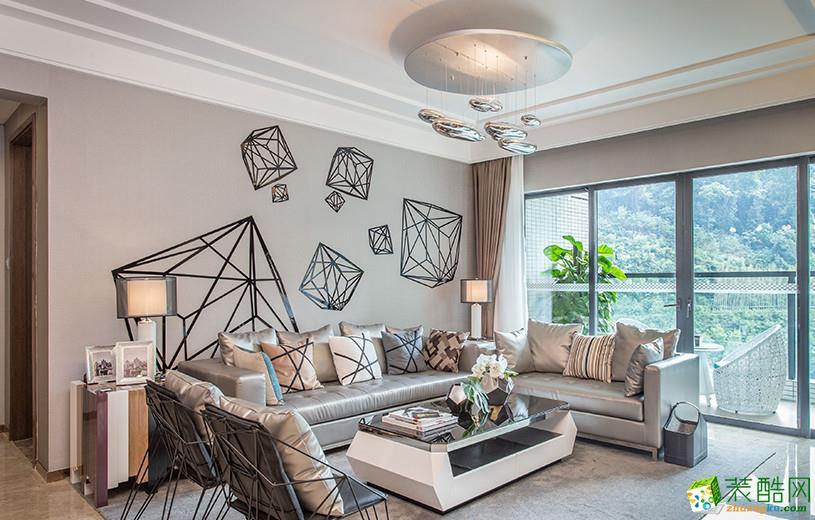 现代简约风格107平米三室两厅装修实景案例图 鑫佰利装饰